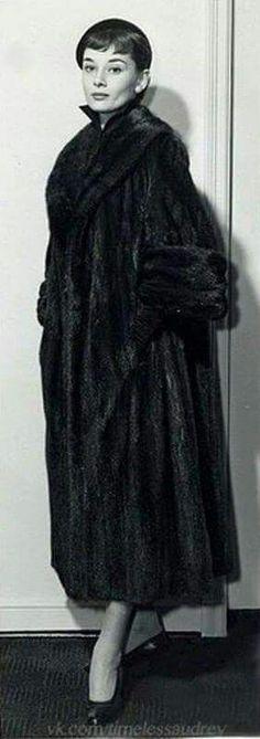 The classy,beautiful, Audrey Hepburn.. Love her fur coat!