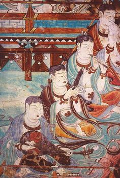 Musician dunhuang - Pipa -Musicians in a scene from paradise, Yulin Cave 25, Tang Dynasty