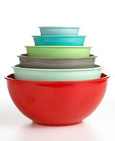 This set of 6 Martha Stewart Collection melamine mixing bowls makes kitchen prep easy and colorful $24