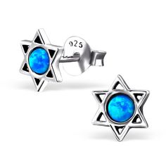 Tiny Small Star of David Stud Earrings Synthetic Opal Stering Silver 925 Post Studs (Pacific Blue). Part Size : 7 x 7 mm. / Opal: Stone size : 3 mm x 3 mm. Material - genuine 925 sterling silver. Nickel and Lead free. Conform to International, European an American legislation regarding lead, nickel and heavy metal content. Finishing: Oxidized + E-coat. Gift Box available. ** Photo enlarge to show detail. Products are much smaller than they appear in the photo.