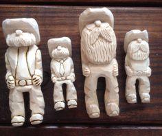 Cowboy wood carvings in progress #woodcarving #cowboy #ozarkwalkingsticks