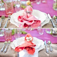 Love the burlap table covering & whimsical touches.