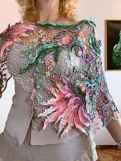 Ася(Галина ) Вертен - Photo From Album Freeform Crochet, Crochet Motif, Crochet Shawl, Crochet Lace, Crochet Leaf Patterns, Lace Patterns, Crochet Scarves, Crochet Clothes, Crochet Cover Up