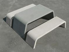 mimetic: concrete table and bench Concrete Bench, Concrete Furniture, Bench Furniture, Concrete Design, Urban Furniture, Furniture Making, Outdoor Furniture, Outdoor Decor, Street Furniture