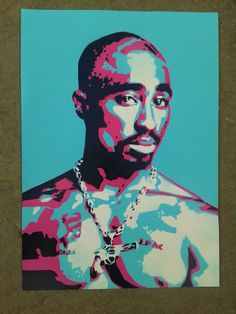 2PAC painting on card,stencils,spray paints,hip hop,rap,west coast,los angeles,music,portrait,miami,american,legend,pop art,urban art,tupac by AbstractGraffitiShop on Etsy