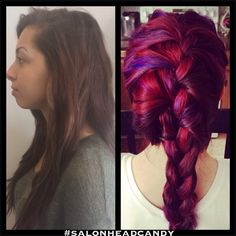 Preview of newest collection. Makeover from dark brown to multi dimensional bright hair. Red hair, pink hair, purple hair, magenta hair. #salonheadcandy with French braid
