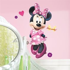 $24.99 - New Design of Wall Decals - Minnie Mouse in Pink Polka Dot Dress - Minnie Mouse Wall Decor for Nursery, Toddler Room or Preschool