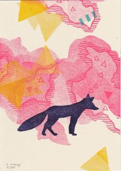 Loup rose Evelyne Mary Linogravure
