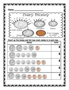 I use this as an independent center after teaching Everyday Math Unit 6 Lesson - Money Teaching Money, Student Teaching, Teaching Ideas, Counting Coins, Counting Money, Money Activities, Toddler Activities, Guided Math, Math 2