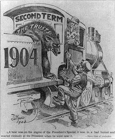 "The caption from this 1903 Teddy Roosevelt cartoon reads: ""A bear was on the engine of the President's Special, it was in a bad humor and snarled viciously at the President when he went near it."" Roosevelt is dressed as the train's fireman as he tries to board the train called the ""Second Term,"" while a bear (""The Trusts"") snarls at him. Uncle Sam is the engineer. John L. De Mar (1865-1926) artist. Library of Congress Prints and Photographs Division"
