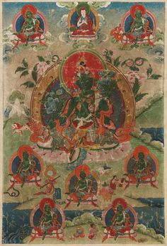 A Tibetan thangka of a Green Tara. 19th century  A Tibetan thangka of a Green Tara, sitting on a lotus, surrounded by seven smaller images of Green Tara, and Tsongkhapa at the top, all in a green landscape. 19th century. Framed and glazed.  63.5 x 43 cm