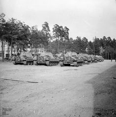 """Panzerkampfwagen V (7,5 cm Kw.K. L/70) """"Panther"""" (Sd.Kfz. 171) Ausf. D What seems to be a full strength Kompanie (22 tanks) of Pz.Kpfw. V from a Panther-Abteilung gathered nearby an army camp, probably circa 1943. It could be elements of the Pz.Abt. 52 in May or June 1943."""