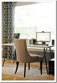 I love the gray curtains and walls, and the white Ikea desk!
