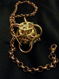 Steam punk chainmaille pendant of brass and copper