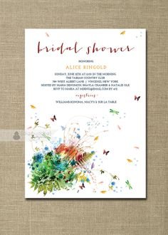Garden Bridal Shower Invitation Watercolor Flowers Rainbow Butterflies Dragonfly Modern Clean Shabby Chic Printable or Printed - Alice Style. $20.00, via Etsy.
