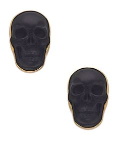 Kesha Rose by Charles Albert Obsidian Skull Post Earrings #maxandchloe