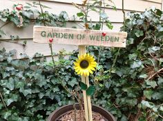 Yard art sign, soda can sunflower, garden sign