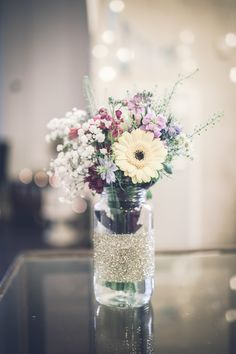 Glitter Jar Flowers Wild Natural Gerbera Yellow Happy Chic Colourful Wedding in Liverpool http://www.amyfaithphotography.com/