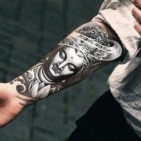 Wish | Armband Temporary Tattoo Mysterious Women Buddha/waterproof Big size fake tatoo sticker art/Arm,Armband,shank,Chest (Size: 1)