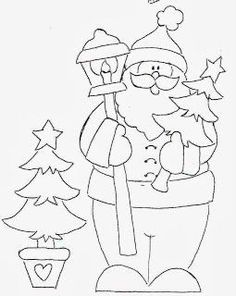 Papai noel, parts or all for felted placemats or runner Más Christmas Colors, Christmas Art, Christmas Decorations, Christmas Ornaments, Christmas Templates, Christmas Printables, Colouring Pics, Coloring Books, Christmas Drawing