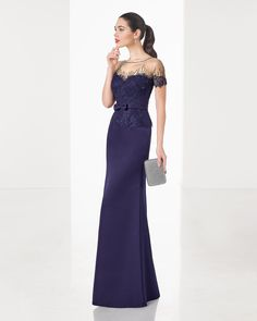 Classic long tailored dress with beaded lace bodice and piqué skirt, in blue, green, red and navy blue.