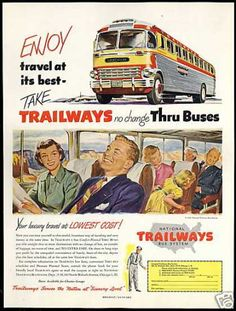 Trailways Bus System Travel Thru Buses Art (1951)