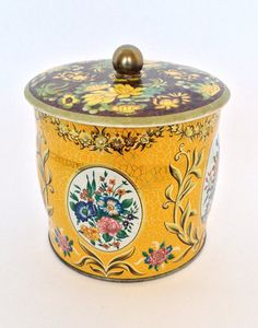 Vintage Tea Tin Fall Floral Fabulous Storage by trailsofthewest