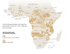 African elephants range: 1979 vs. 2007 - decimated in unstable nations