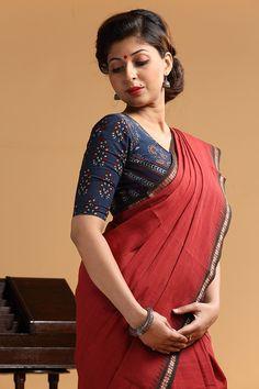 Indigo Melange Patchwork Blouse Pinned by Sujayita
