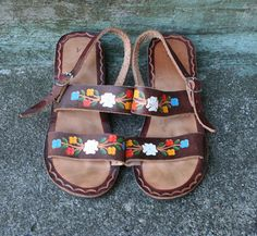 Tooled + Painted Floral 70s Leather Sandals. I swear i had these when i was a kid!!!