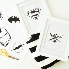 Print out these cool black and white Super Heroes and frame them up for a modern super hero room!