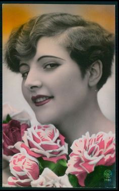 1920's tinted postcard Finger Wave Hair, Finger Waves, 1940s Hairstyles, Wedding Hairstyles, Retro Updo, Nostalgic Pictures, Ballroom Hair, 1920s Hair, Vintage Wedding Hair