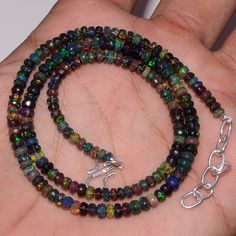 "40CRTS3.5to4.5MM18"" BLACK ETHIOPIAN OPAL RONDELLE FACETED BEADS NECKLACE OBI2759…"