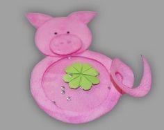 Pinkes Glücksschwein aus Papier