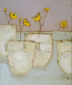 Buttercup pots by Eithne Roberts, Irish art gallery showing works by artists Bob. Art Texture, Oil Pastel Art, Irish Art, Colorful Paintings, Arte Floral, Abstract Flowers, Painting Inspiration, Flower Art, Watercolor Art