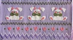 Bunnies smocking plate for Easter
