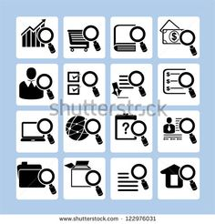 magnifying glass and verification icon set, search the folder