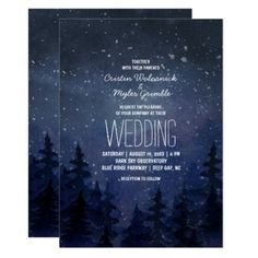 Rustic Night Sky Forest Wedding Card - invitations custom unique diy personalize occasions