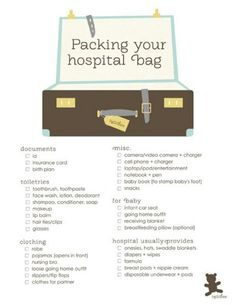 Packing list for hospital