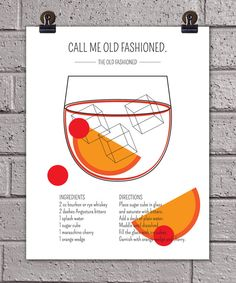 Classic Cocktails The Old Fashioned Art Print // 11 x 14 // Drink Recipe Poster Mad Men Don Draper