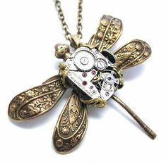 Steampunk necklace, steampunk dragonfly with mechanical body, steampunk insect, steampunk jewelry