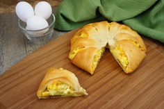 'Bacon Egg and Cheese Ring'  Ingredients:  1 can of crescent rolls  5 large eggs; scrambled  1 cup of shredded Colby and Monterrey jack cheese  8 slices of cooked bacon   1 teaspoon of season salt  Bake at 375 for 15-17min