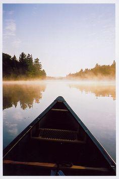 sunrise in algonuin park. solo paddling. peace.
