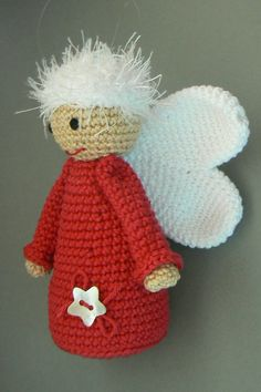 Instructions for crocheted angel Crochet Christmas Ornaments, Handmade Christmas Decorations, Holiday Crochet, Crochet Snowflakes, Christmas Knitting, Christmas Angels, Crochet Crafts, Crochet Dolls, Crochet Projects