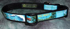 Aloha!! Adjustable Dog Collar from Recycled Kona Brewing Big Wave beer labels by squigglechick