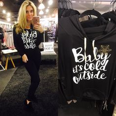"""Come get your """"Baby It's Cold Out Hoodie"""" ($42) paired with our amazing new """"Indiana"""" booties ($54)  FREE SHIPPING  Call 440.893.9279 email sales@sanitystyle.com  to order or shop in store    #sanitystyle #sanitychagrinfalls #shoplocal #chagrinfalls #shopchagrinfalls #boutique #freeshipping #cleveland #clevelandfashion #clevelandstyle #style #shop #cle #thisiscle #love #selloninsta #instasale #fashionpost #beautiful #picoftheday #shopping #shopaholic #fall #fallfashion  #retailtherapy…"""