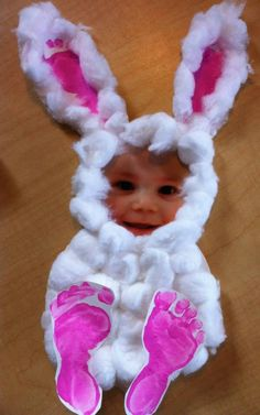 Super cute to give as a gift. You'll need a big piece of card cute into a bunny shape, a large close up photo of your little one, glue,cotton balls, pink paint xx Sorry, no link