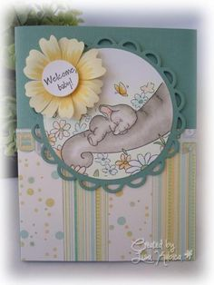 Welcome Baby card made with Wild Rose Studio stamp, Copic markers, and DCWV decorative paper