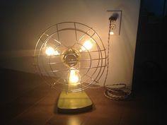 Repurposed vintage electric fan table lamp