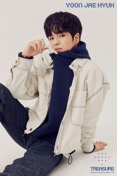 Lirik Lagu Treasure, Korean Celebrities, Celebs, Debut Photoshoot, Rain Jacket, Bomber Jacket, Hyun Suk, New Start, Treasure Boxes